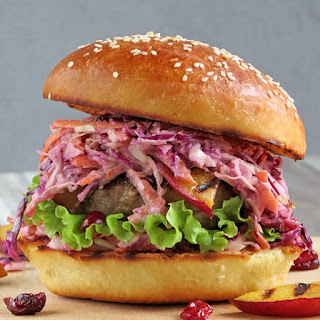 Turkey Burgers With Cranberry Coleslaw
