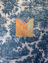 """Photo: Orange and Blue I 14"""" x 18"""" Hand embroidery, beadworK and paint on linen with vintage toile fabric. All rights reserved c. Karin Birch 2013"""