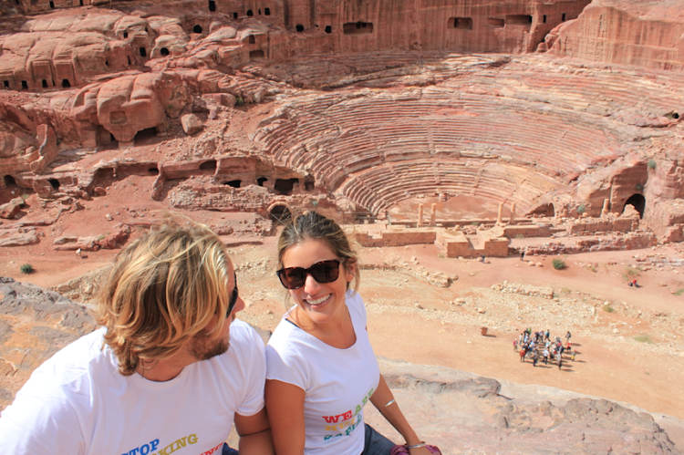 In front of an ancient amphitheater at Petra.