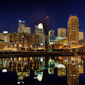 Minneapolis at night by Peter Stratmoen - City,  Street & Park  Night ( minnesota, night photography, minneapolis, cityscape, downtown, nightscape,  )