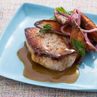 Seared Pork Chops with Roasted Sweet Potato Salad.