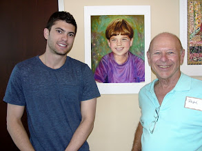 Photo: Ari and Ralph with Ari's portrait by Sydelle Sher / 4-21-13 Les & Sydel Art exhibit at Weissman Ctr