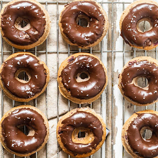 Cherry and Chocolate Glazed Baked Donuts