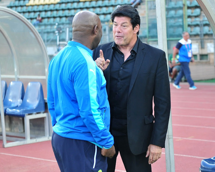 Luc Eymael, coach of Polokwane City and Pitso Mosimane, coach of Mamelodi Sundowns during the 2016 Telkom Knockout match between Mamelodi Sundowns and Polokwane City at the Lucas Moripe Stadium in Pretoria on the 27 October 2016.
