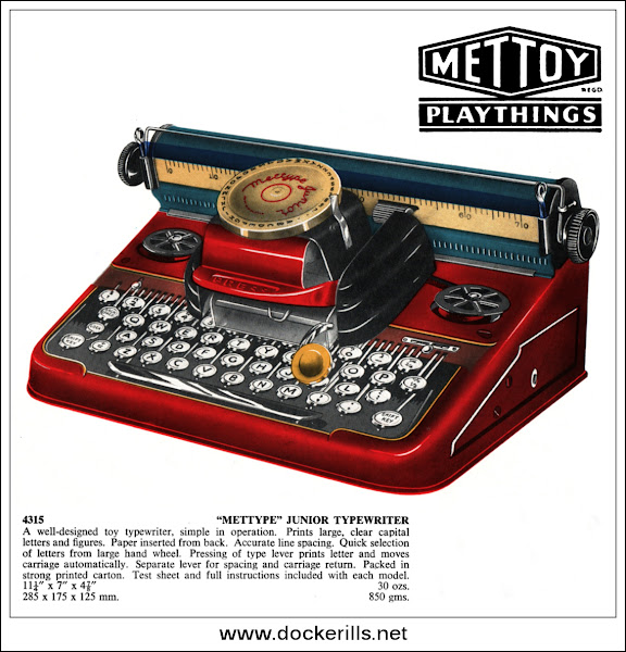 "Photo: ""Mettype"" Typewriter 4315, Mettoy, Great Britain. 1953.  Visit my blog - Collecting Tin Toys at  http://tinplatetoys.blogspot.co.uk/"