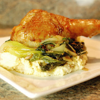 Soy Ginger Glazed Turkey Legs with Wasabi Mashed Potatoes and Braised Bok Choy Recipe