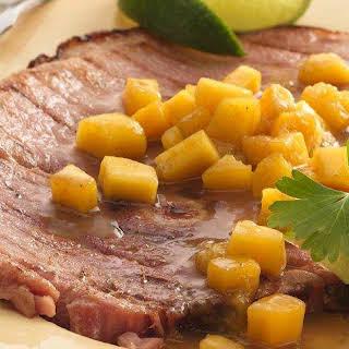 Grilled Mango Ham Steak.