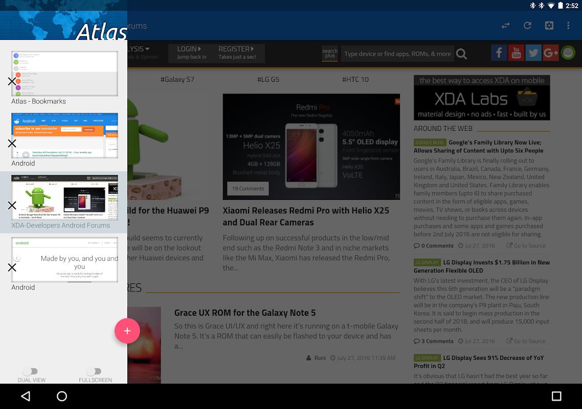 Atlas Web Browser screenshots