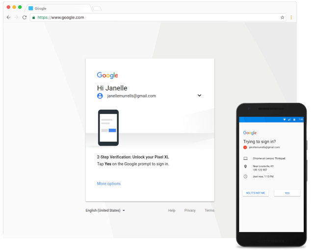 Google Prompt - screenshot of user interface