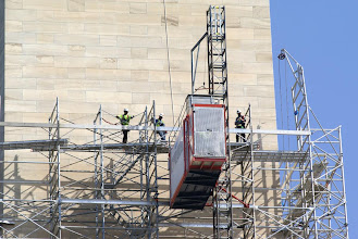 Photo: The service elevator up the temporary scaffolding on the Washington Monument