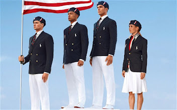 Photo: USA's Olympic uniforms were designed by Ralph Lauren and modeled here by swimmer Ryan Lochte, decathlete Bryan Clay, rower Giuseppe Lanzone and soccer player Heather Mitts. What do you think about this team's look?