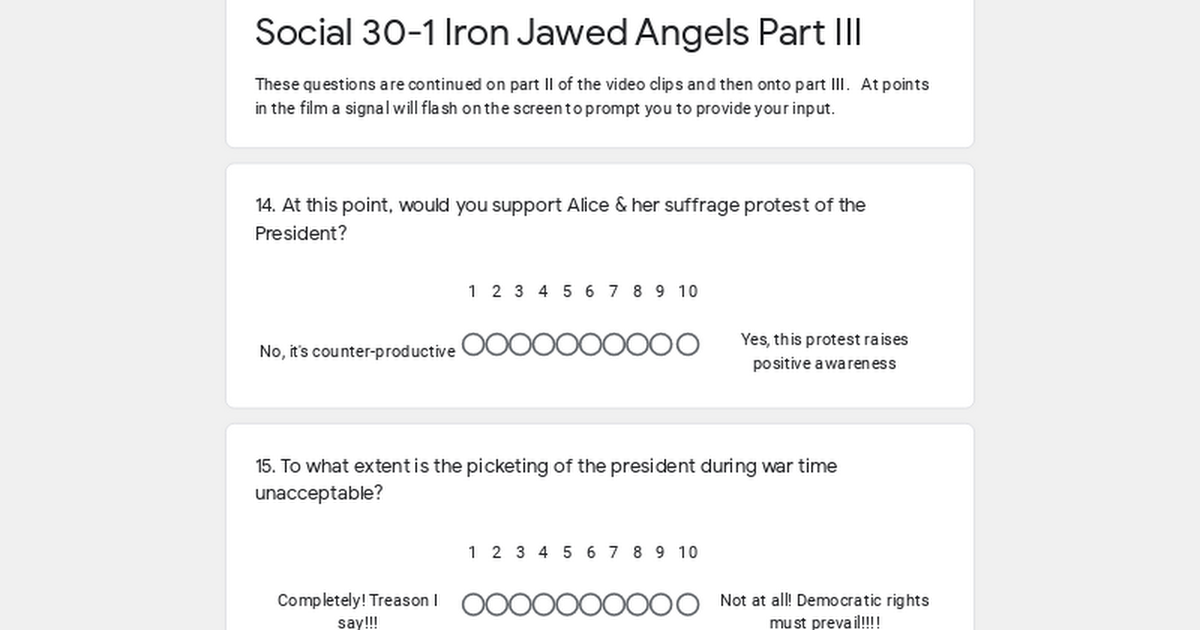 iron jawed angels questions