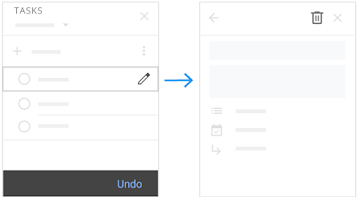 Delete a task and restore a deleted task by clicking Undo