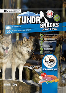 Tundra snacks anka/lax/vilt 100 gr 9 st/display