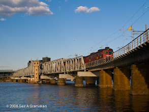 Photo: NSB BM69 local train set in towards Drammen station, crossing the oldest of the railway bridges in this river town