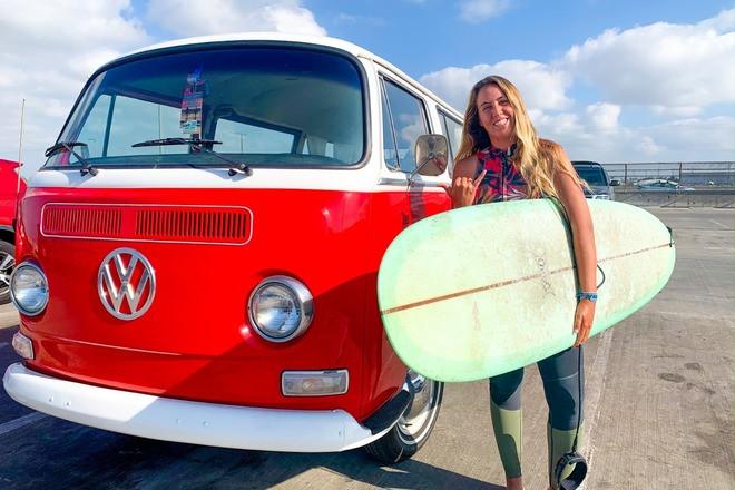 1970 Red Volkswagen Bus Hire CA 92646