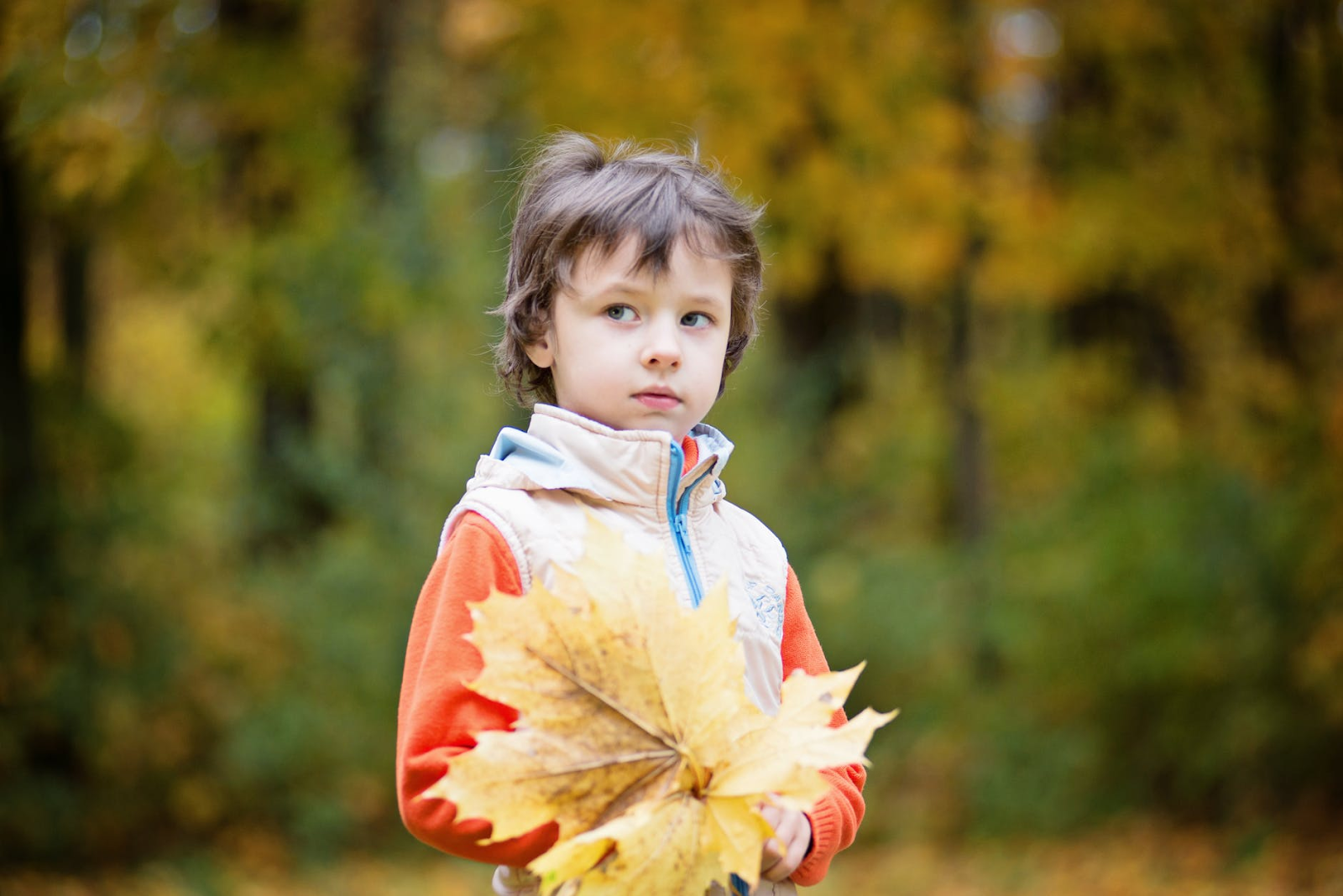 Boy play outside with leaf