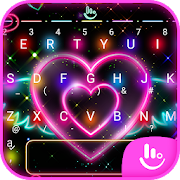Colorful Neon Sparkling Heart Keyboard Theme