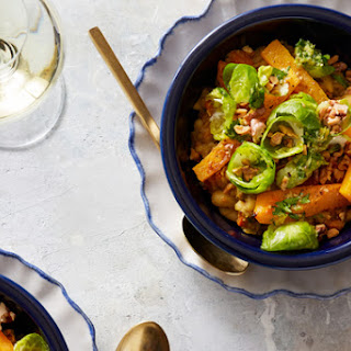 Butternut Squash & White Bean Stew with Gremolata & Marinated Brussels Sprouts Recipe