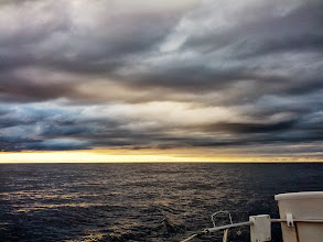 Photo: Sunset off the stern in Lake Huron
