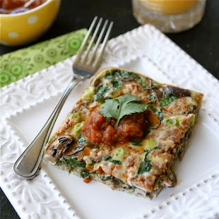 Baked Egg Breakfast Casserole with Mushrooms, Spinach & Salsa.