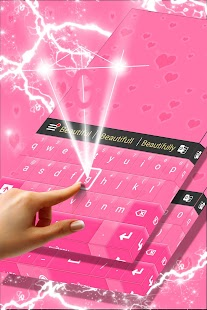 Pink Hearts Keyboard Theme - náhled