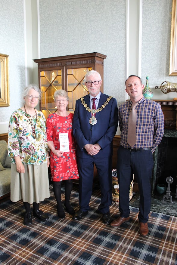 Hilary Ash, Linda Higginbottom and Ian Jones with Wirral Mayor, Councillor Tony Smith.