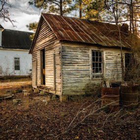 Sandy Grove Church Shack by Evan Jones - Buildings & Architecture Decaying & Abandoned ( african, church, shack, episcopal, georgia, travel, usa, rustic, historic, rural, country, history, warrenton, sunset, south, methodist, abandoned )