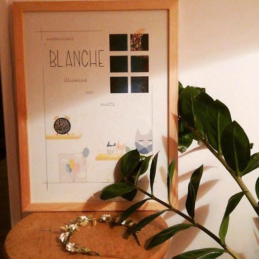 affiche personnalisée cadeau de naissance - illustration Illustre Albert - thème de la nuit et des étoiles