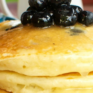 Blueberry Pancakes with Warm Buttermilk Syrup