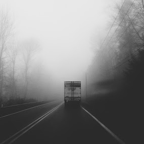 by John Robinson - Instagram & Mobile iPhone ( fog, black and white, driving, pennsylvania, road )