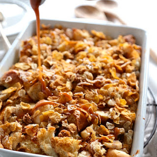 Banana Rum Caramel Crunch Bread Pudding