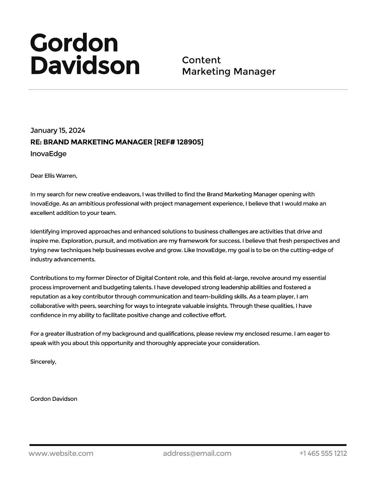 Gordon Davidson - Cover Letter Template