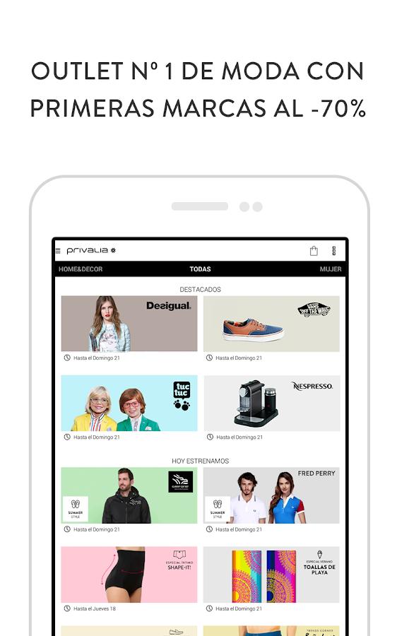 Privalia, outlet moda online - screenshot