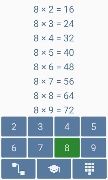 Multiplication table Android App Screenshot
