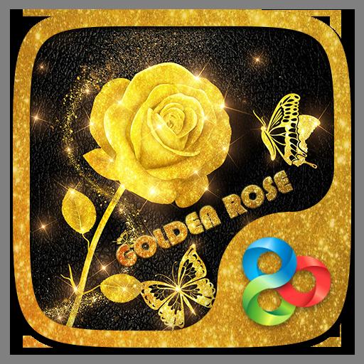 Golden Rose 3D Go Launcher Theme