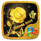 Golden Rose 3D Go Launcher Theme