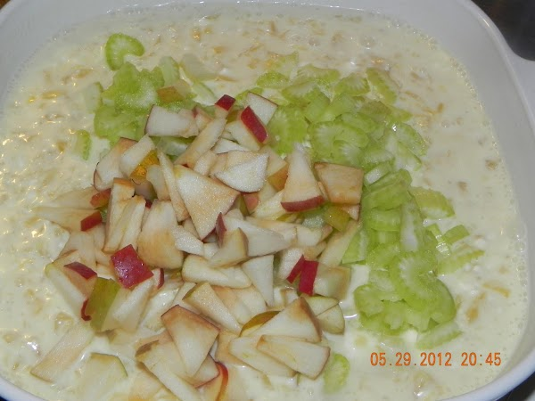 Let mixture cool and then fold in your apples, celery and whipped topping.