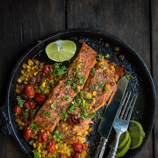 Salmon with Roasted Tomatoes and Corn.