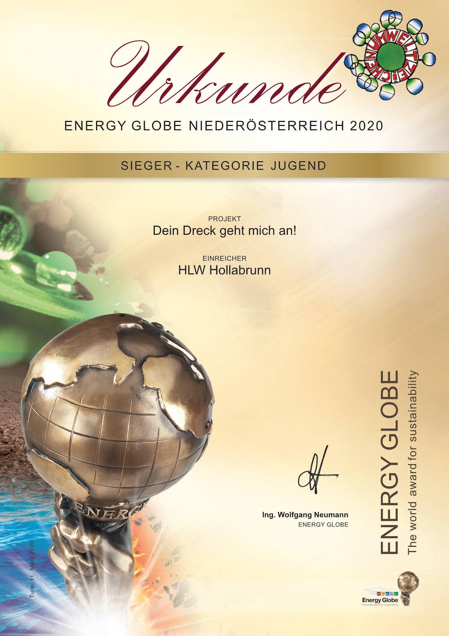 "HLW Hollabrunn gewinnt Energy Globe NÖ in der Kategorie ""Jugend"""