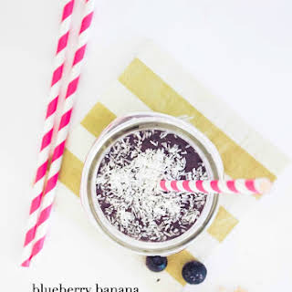 Low Fat Blueberry Banana Peanut Protein Smoothie.