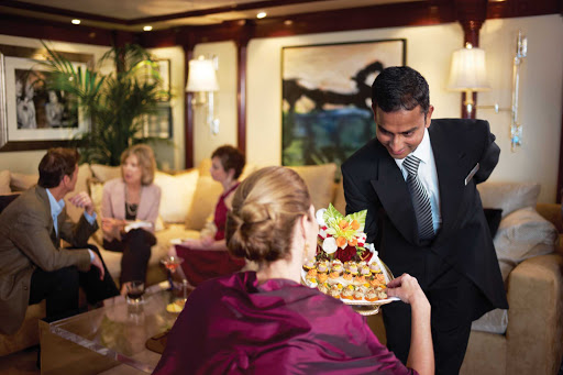 Butler service in your Oceania Owner's Suite includes canapes each afternoon.