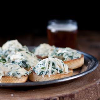 Spinach Artichoke Beer Cheese Crostini