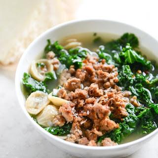 Spicy Sausage, Kale and Whole Wheat Orecchiette Soup