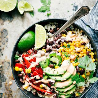 Healthy Mexican Street Corn Burrito Bowls.