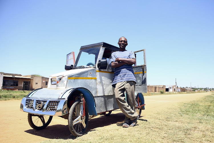 unemployed man a sensation in his village with pedal car built from scrap. Black Bedroom Furniture Sets. Home Design Ideas