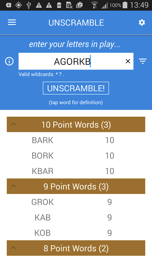 Unscramble Letters- screenshot