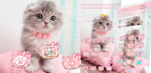 Pink Cute Kitty Cat Theme Apps (APK) gratis downloade til Android/PC/Windows screenshot