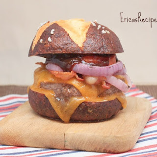 BBQ Bacon Double Cheeseburgers on Homemade Pretzel Buns