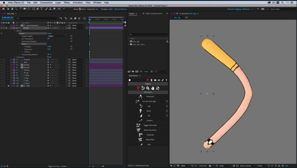 an arm in after effects